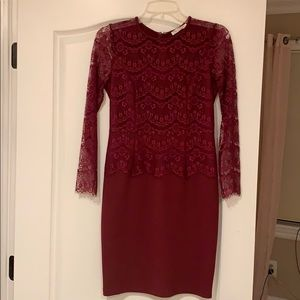 Maroon One-piece Dress